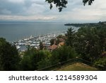 view on harbor of thonon les... | Shutterstock . vector #1214589304