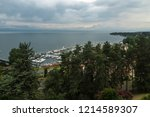 view on harbor of thonon les... | Shutterstock . vector #1214589307