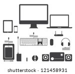 set of vector electronic device ... | Shutterstock .eps vector #121458931