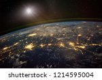 lights from areas in the gulf... | Shutterstock . vector #1214595004