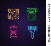 barcodes neon light icons set.... | Shutterstock .eps vector #1214600131