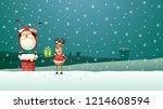 reindeer helps santa claus put... | Shutterstock .eps vector #1214608594