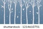 Paper Art Birch Tree On Blue...