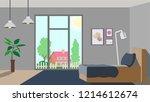 design of modern bedroom with... | Shutterstock .eps vector #1214612674