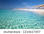 Small photo of Elafonissi beach on Crete island with azure clear water, Greece, Europe. Crete is the largest and most populous of the Greek islands.