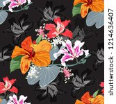 seamless pattern botanical with ...   Shutterstock .eps vector #1214636407