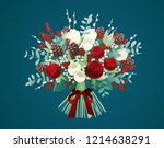 christmas bouquet with red... | Shutterstock .eps vector #1214638291