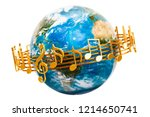 earth globe with musical notes... | Shutterstock . vector #1214650741