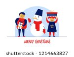 flat cartoon boy girl snowman... | Shutterstock .eps vector #1214663827