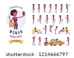 young black woman ready to use... | Shutterstock .eps vector #1214666797