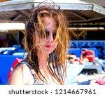 brunette beautiful disheveled...   Shutterstock . vector #1214667961