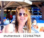 brunette beautiful disheveled...   Shutterstock . vector #1214667964