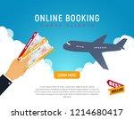 cheap flight travel vector... | Shutterstock .eps vector #1214680417