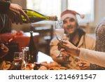 group of friends celebrating... | Shutterstock . vector #1214691547