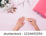 top view female hands... | Shutterstock . vector #1214692354