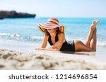 summer lifestyle portrait of... | Shutterstock . vector #1214696854