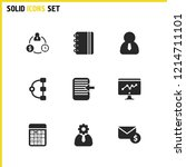 trade icons set with setting ...