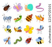 cute and funny bugs  insects... | Shutterstock . vector #1214720101