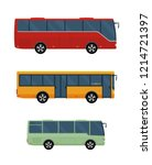 three buses isolated on white... | Shutterstock .eps vector #1214721397