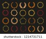vector laurel autumn wreaths on ... | Shutterstock .eps vector #1214731711