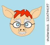 emoji with ginger pig man that...   Shutterstock .eps vector #1214744197