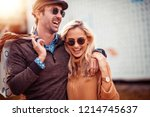 portrait of happy couple with... | Shutterstock . vector #1214745637