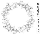 vector floral wreath with black ...   Shutterstock .eps vector #1214746057