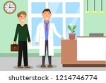 hospital. doctor and patient at ... | Shutterstock .eps vector #1214746774