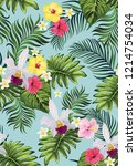 seamless hand drawn exotic... | Shutterstock .eps vector #1214754034