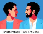 two men face to face. male... | Shutterstock .eps vector #1214759551