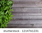 basil on wooden table with copy ... | Shutterstock . vector #1214761231