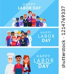 labor day poster with people of ... | Shutterstock .eps vector #1214769337