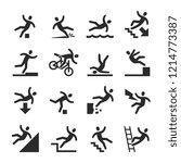 stick figure man falling beware ... | Shutterstock . vector #1214773387
