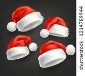 realistic santa hat  cap set.... | Shutterstock .eps vector #1214789944