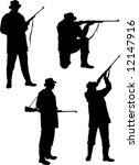 silhouette hunters on white...   Shutterstock .eps vector #12147916