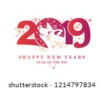 year of the pig 2019. new year... | Shutterstock .eps vector #1214797834