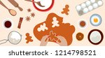 process of cooking gingerbread. ... | Shutterstock .eps vector #1214798521