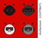 emoji with a set of four dark... | Shutterstock .eps vector #1214798671