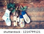 christmas rustic decorations... | Shutterstock . vector #1214799121