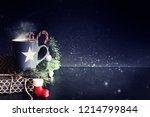 cup of tea on christmas... | Shutterstock . vector #1214799844