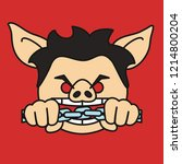 emoji with wicked pig character ...   Shutterstock .eps vector #1214800204
