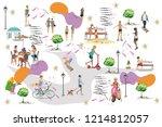 set of people having rest in... | Shutterstock .eps vector #1214812057