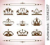 silhouettes vector set of crown ... | Shutterstock .eps vector #121481257