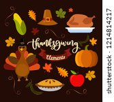 hand drawn doodle thanksgiving... | Shutterstock .eps vector #1214814217