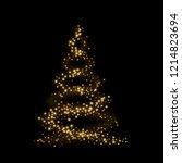 christmas tree card background. ... | Shutterstock .eps vector #1214823694