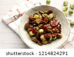 warm salad of brussels sprouts  ... | Shutterstock . vector #1214824291