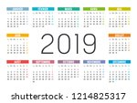 year 2019 minimalist colorful... | Shutterstock .eps vector #1214825317