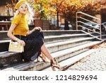 outdoor full body autumn... | Shutterstock . vector #1214829694
