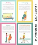 tanning and hair styling... | Shutterstock .eps vector #1214835454