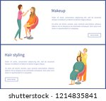 makeup and hair styling web... | Shutterstock .eps vector #1214835841